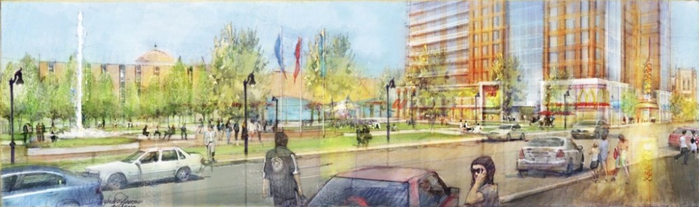 Concept art of how the area may look following construction. Courtesy of Saint Peter's University.