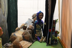 Backstage with Tricolet, one of the puppets featured in the show